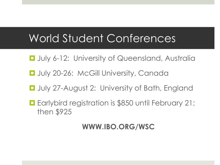 World Student Conferences