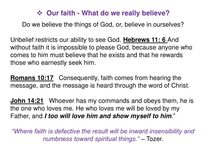 Our faith - What do we really believe?