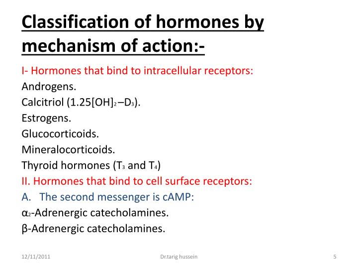 Classification of hormones by mechanism of action:-