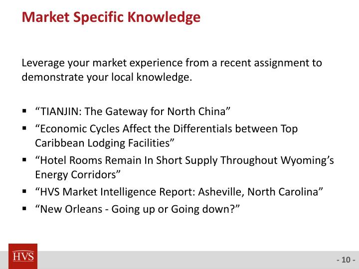 Market Specific Knowledge