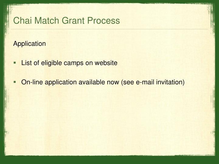 Chai Match Grant Process