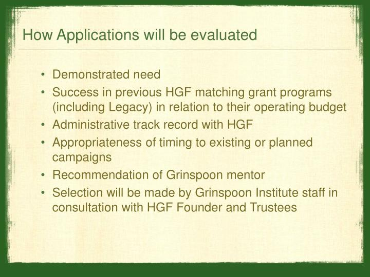 How Applications will be evaluated