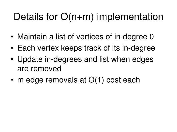 Details for O(n+m) implementation