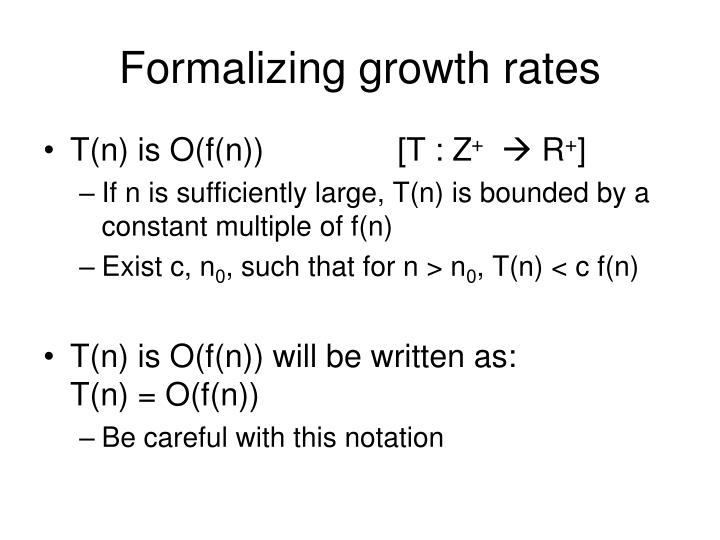 Formalizing growth rates