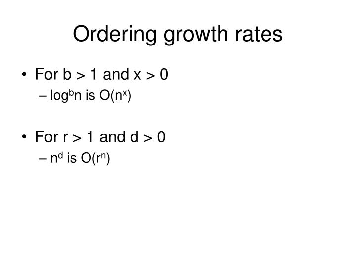 Ordering growth rates