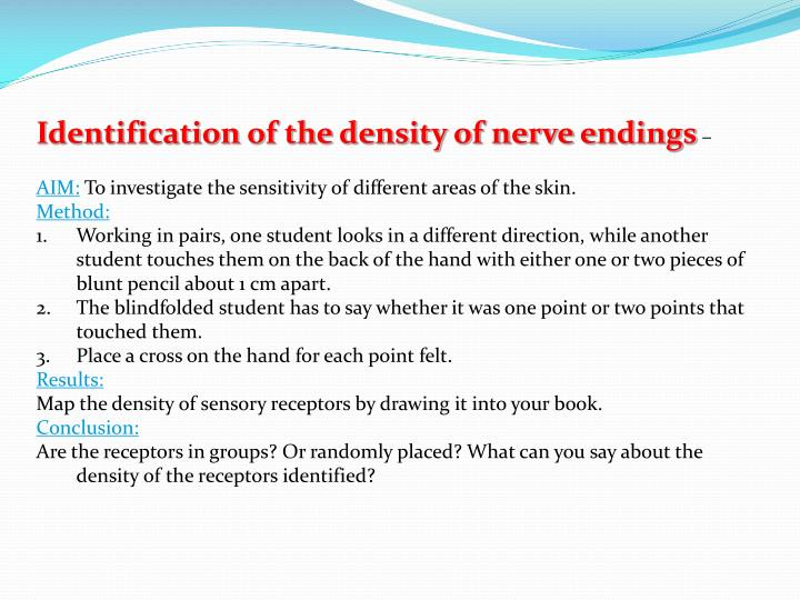 Identification of the density of nerve endings
