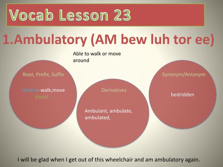 1 ambulatory am bew luh tor ee