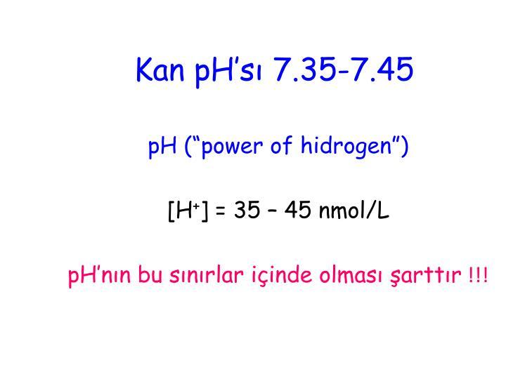 Kan pH'sı 7.35-7.45