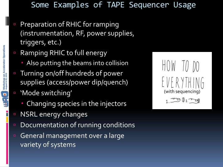 Some Examples of TAPE Sequencer Usage