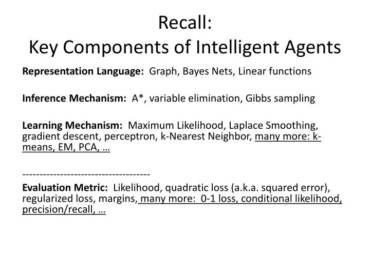 Recall key components of intelligent agents