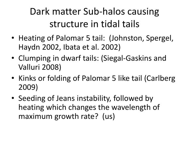 Dark matter Sub-halos causing structure in tidal tails