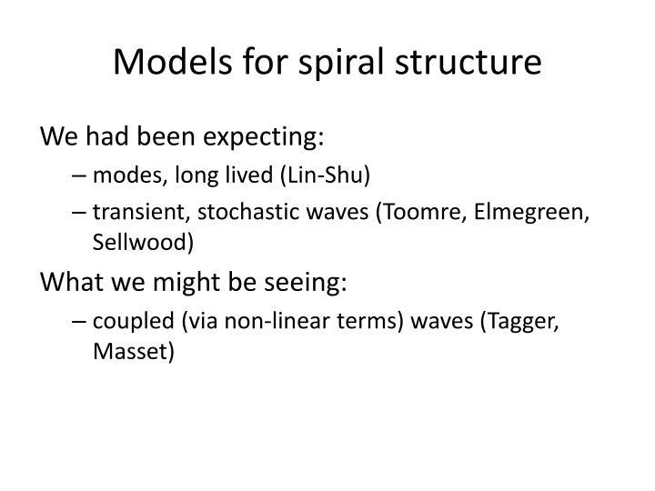 Models for spiral structure