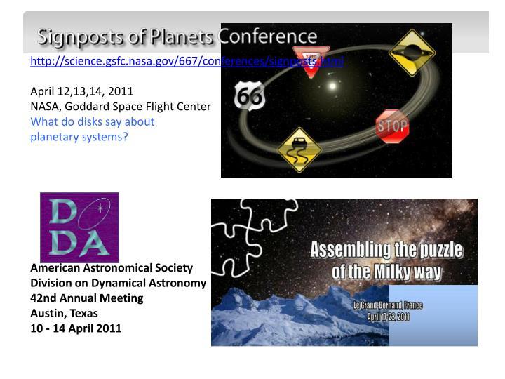 http://science.gsfc.nasa.gov/667/conferences/signposts.html