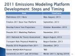 2011 emissions modeling platform development steps and timing