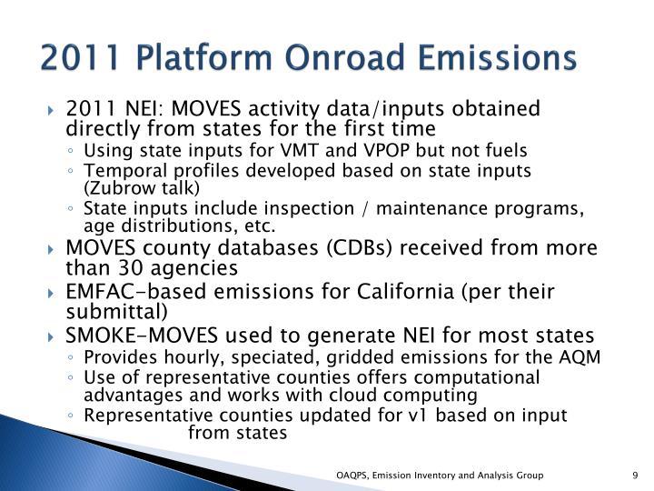 2011 Platform Onroad Emissions