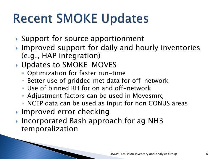 Recent SMOKE Updates