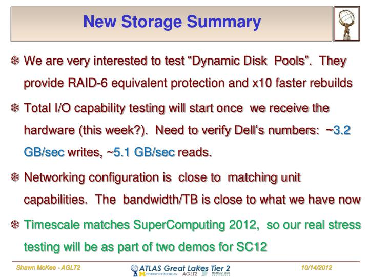 New Storage Summary