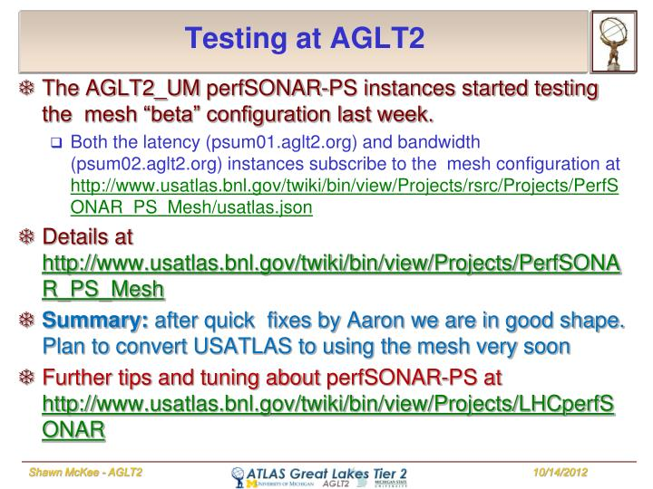 Testing at AGLT2