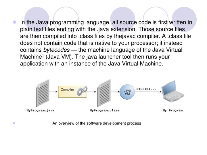 In the Java programming language, all source code is first written in plain text files ending with the