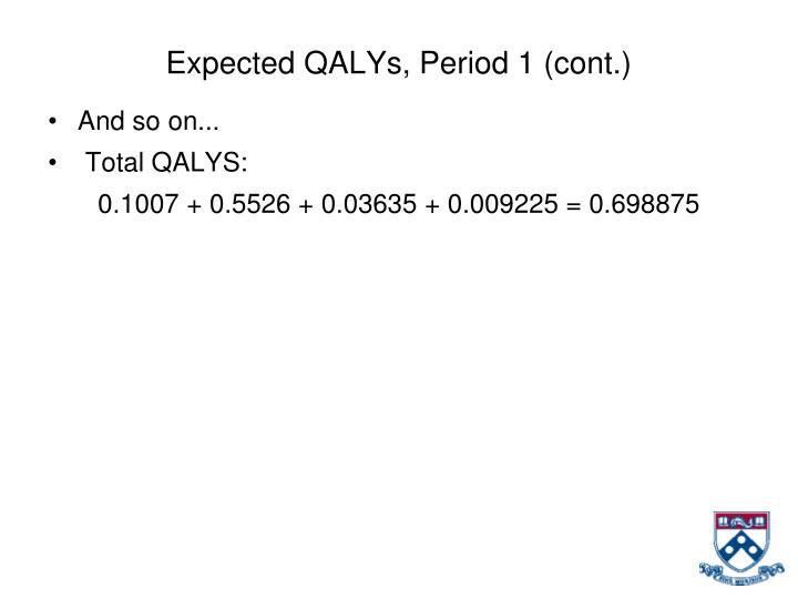 Expected QALYs, Period 1 (cont.)