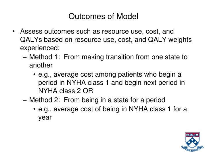 Outcomes of Model