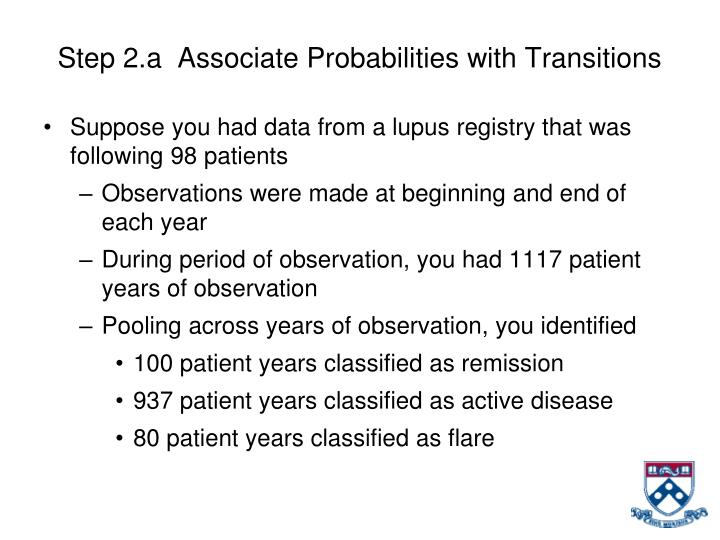 Step 2.a  Associate Probabilities with Transitions