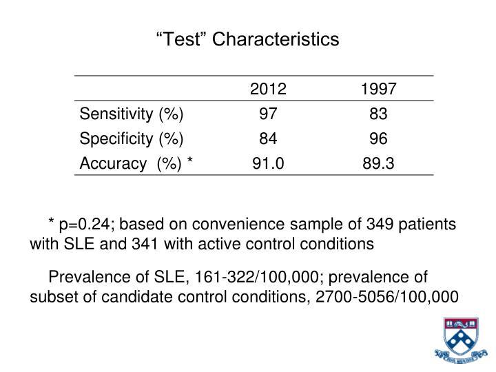 """Test"" Characteristics"