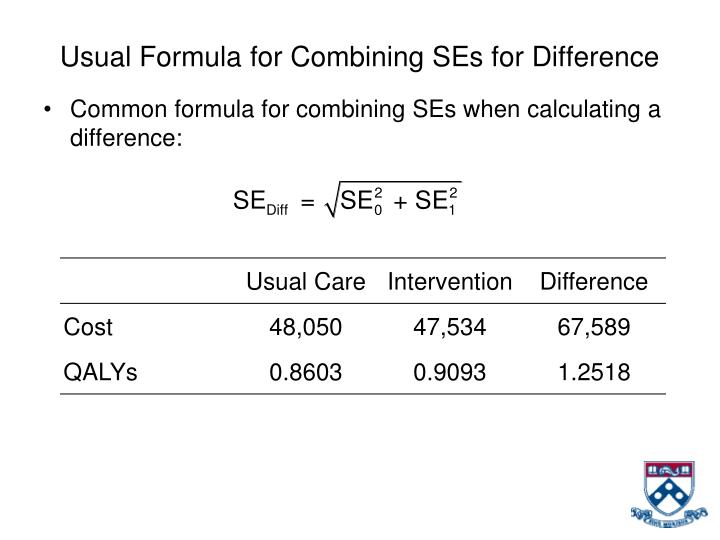 Usual Formula for Combining SEs for Difference