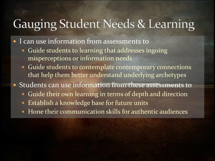 Gauging Student Needs & Learning