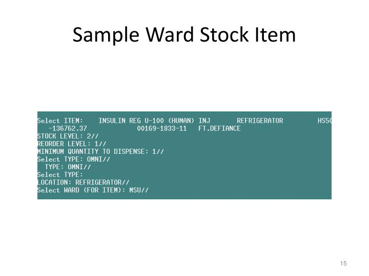 Sample Ward Stock Item