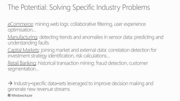 The Potential: Solving Specific Industry Problems