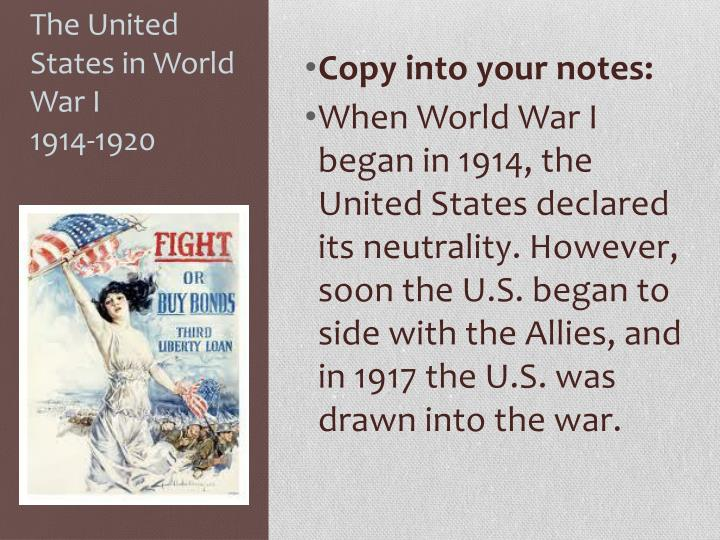 The united states in world war i 1914 1920