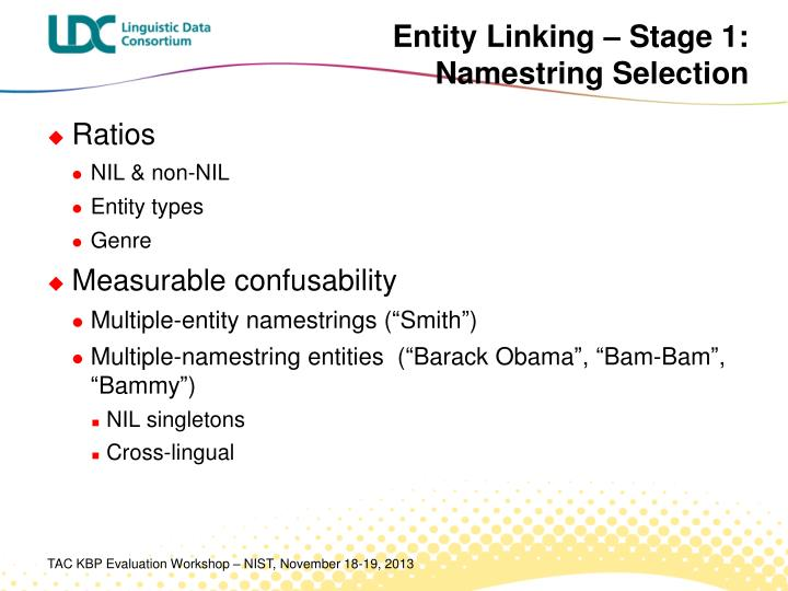 Entity Linking – Stage 1: Namestring Selection