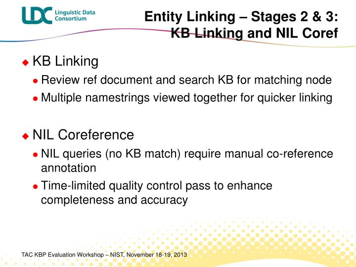 Entity Linking – Stages 2 & 3: KB Linking and NIL