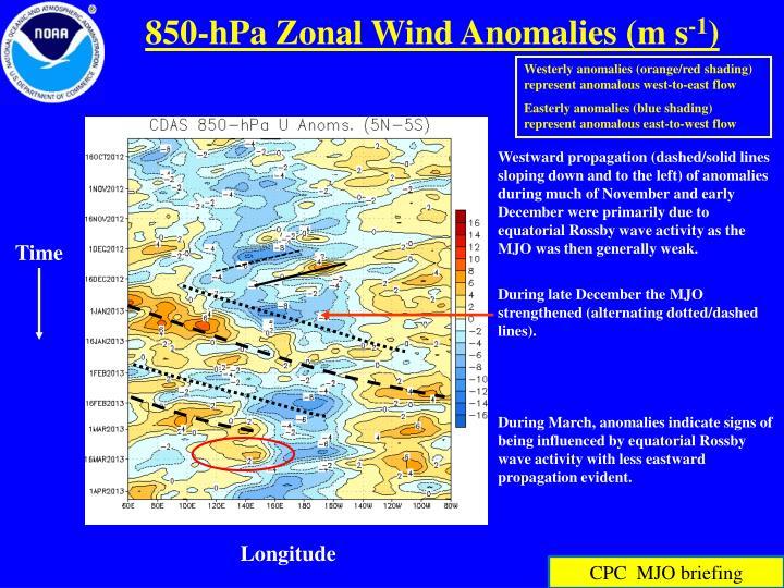 850-hPa Zonal Wind Anomalies (m s