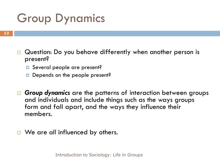 group dynamics in organizations Group dynamics in organizational behavior a group is defined as a number of individuals who come together to achieve a particular task or goal group dynamics refers.