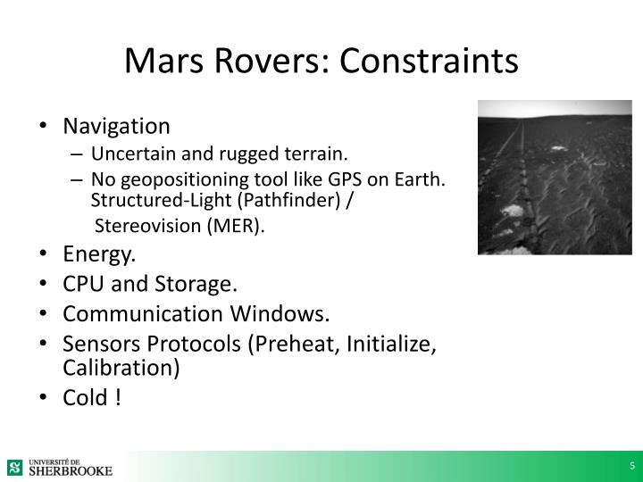 Mars Rovers: Constraints