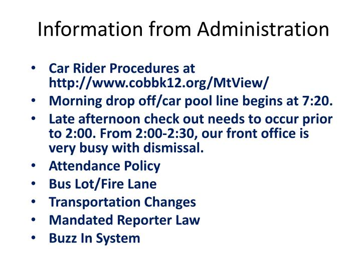 Information from Administration