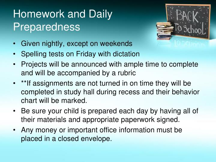 Homework and Daily Preparedness