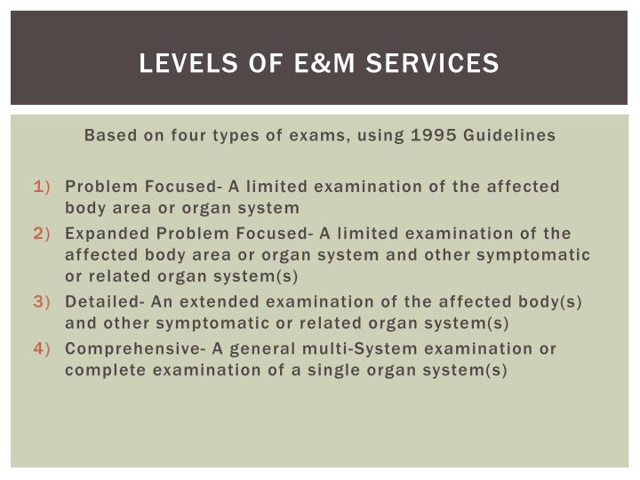 Levels of E&M Services