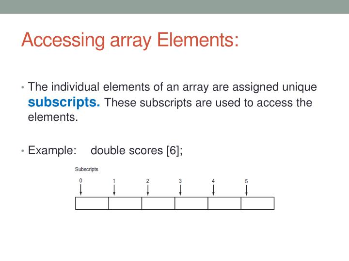 Accessing array Elements:
