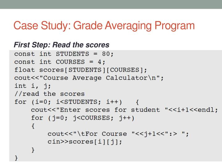 Case Study: Grade Averaging Program
