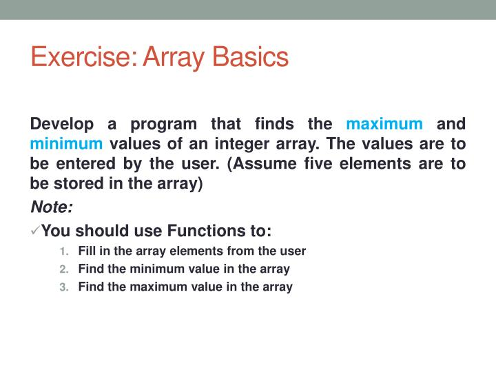 Exercise: Array Basics