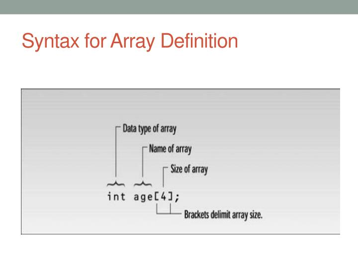 Syntax for Array Definition
