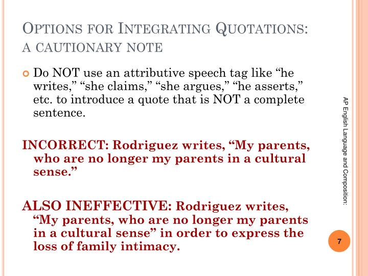 Options for Integrating Quotations: a cautionary note