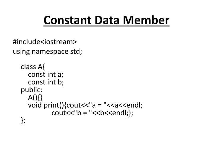 Constant Data Member