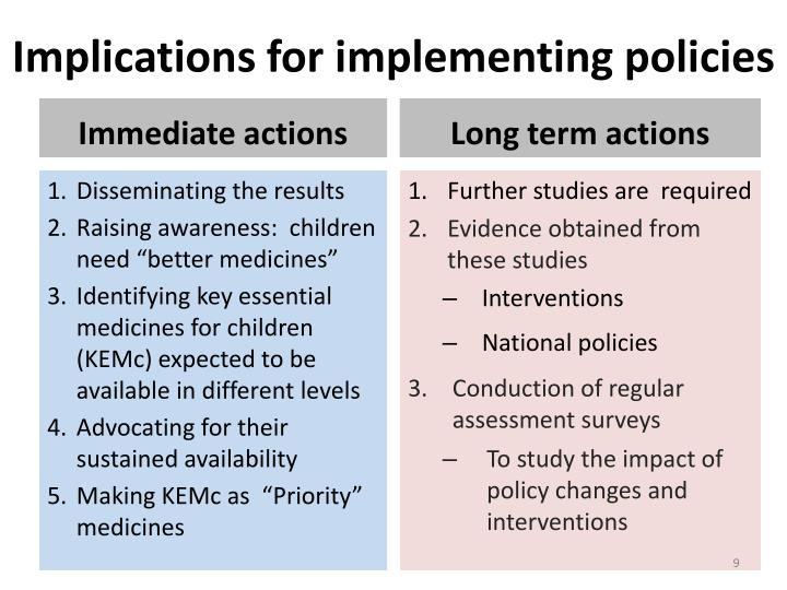 Implications for implementing policies