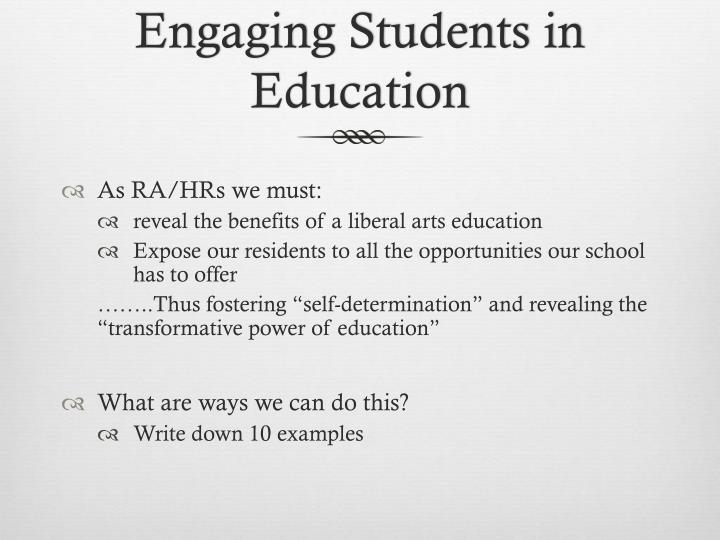 Engaging Students in Education