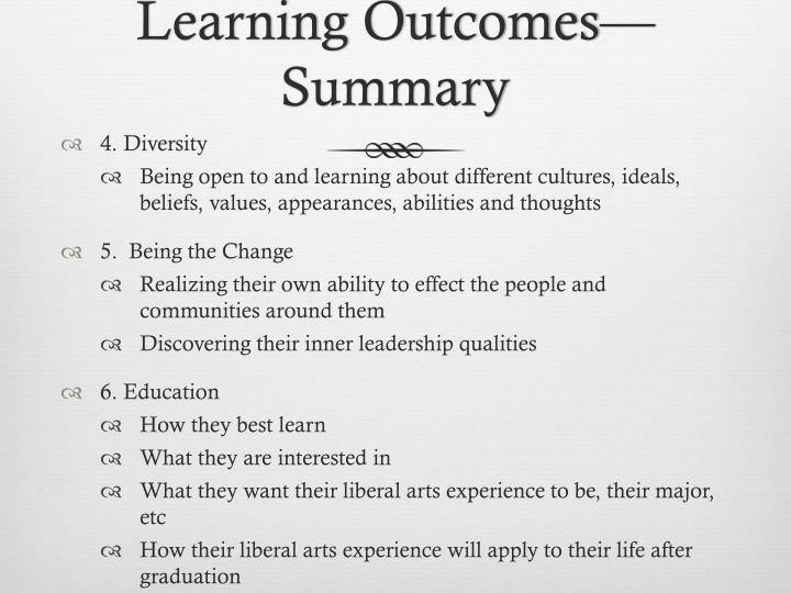 Learning Outcomes—Summary