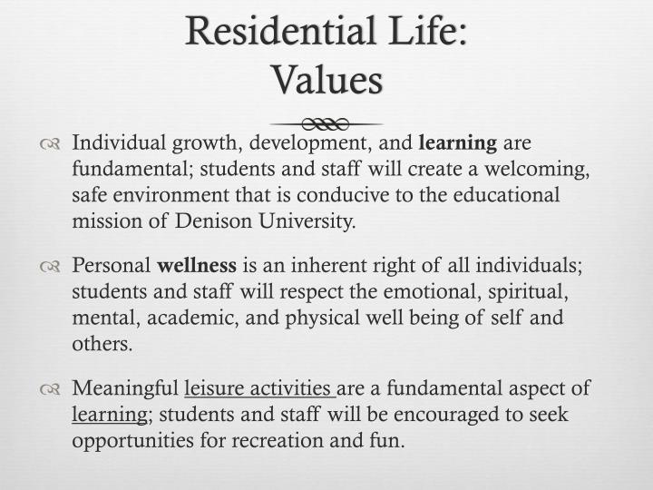 Residential Life: